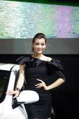 荣威美女模特车展实拍