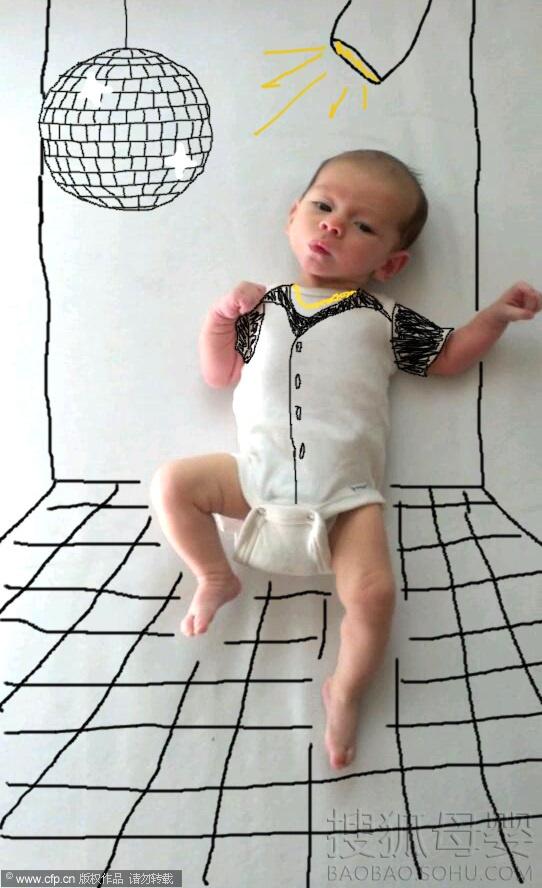 当地时间2013年10月7日消息,美国女艺术家Amber Wheeler刚刚生下小宝宝,她决定把小儿子带进绘画创作中,结果令人捧腹的效果出来了,这组照片在网上也火了。Wheeler采用白色背景以及电脑打印设备进行创作,有美国大兵,有大厨,还有魔术师,小宝宝在各种图片背景下也是萌态尽显。