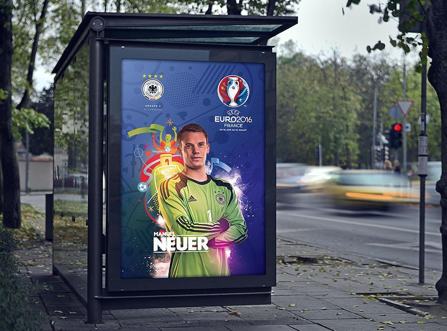 高清图:欧洲杯24强创意海报 c罗贝尔亮相站台