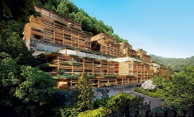 木质格栅包裹的山中养生酒店