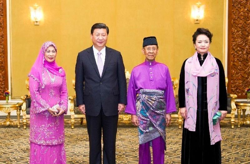 在马来西亚国家皇宫会见马来西亚最高元首