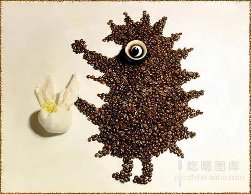 创意摄影:咖啡豆拼出的可爱动物们