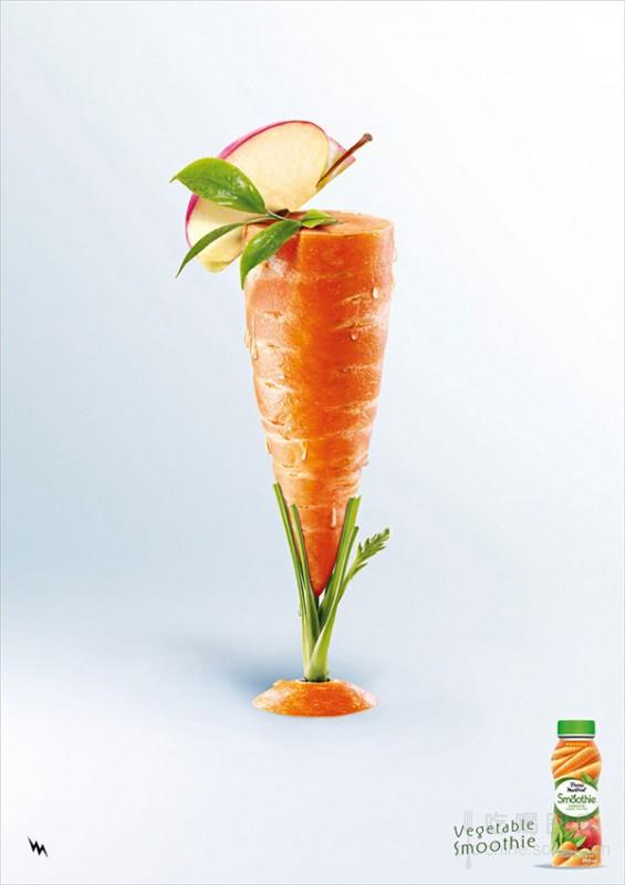 创意饮料广告海报:原汁原味100%蔬菜制作