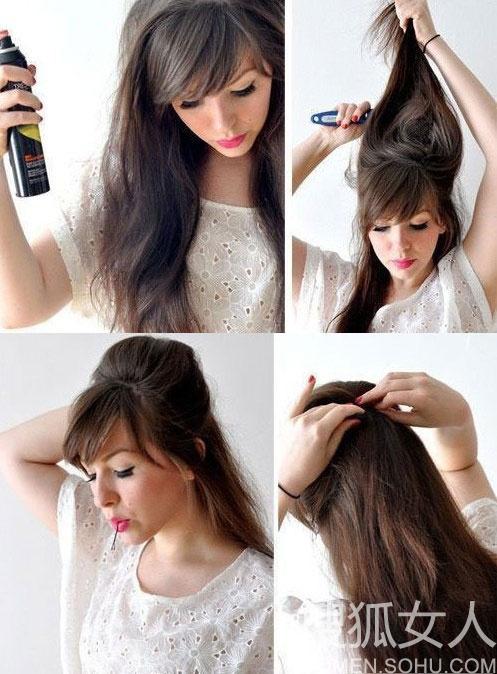 用梳子来梳理一下头发.   3.从头部两侧取出部分头发,打造半扎发发型.图片