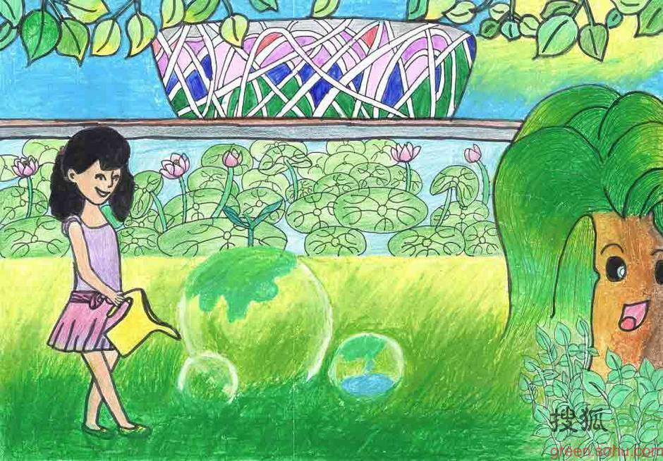 儿童画画呼吁植树 赶走雾霾天(图); 【转载】 2013植树节:儿童画作