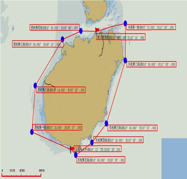 高清图:2014环海南岛国际大帆船赛赛事坐标图