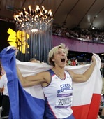 北京时间8月10日,2012伦敦奥运会女子标枪决赛,捷克选手博拉-斯波塔科娃以69.55米获得冠军,...