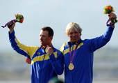 北京时间8月5日,2012年伦敦奥运会帆船帆板项目在韦茅斯-波特兰港进行到第八天,瑞典沙米宁/卢夫、...