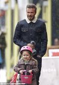 2015年1月13日讯,伦敦,当地时间1月13日,小贝(David Beckham)与女儿小七现身街...