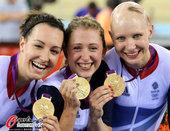 北京时间8月5日,2012年伦敦奥运会第8日,场地自行车精彩英国队夺冠。更多奥运视频>> 更多奥运图...