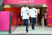 北京时间2012年7月29日,美国男篮梦之队出现在比赛场馆备战即将开始的同法国队的比赛。更多奥运视频...