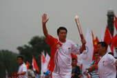 7月4日,境内陕西省西安市传递奥运圣火,结束仪式现场(摄影:范帆;版权:搜狐奥运)