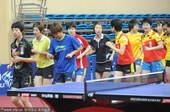 2010年11月3日上午,中国广东中山,国家女子乒乓球队在广东中山沙溪体育馆进行训练前的热身活动。据...
